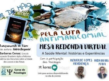 [Gratuito] Evento em comemoração à Luta Antimanicomial terá mesa de conversa com profissionais e lançamento de livro