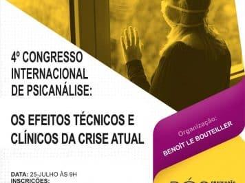 Abertas as inscrições para o 4º Congresso Internacional de Psicanálise, que discute os efeitos técnicos e clínicos da pandemia no sofrimento psíquico